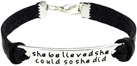 O.RIYA She Believed She Could So She Did Leather Bracelet For Women , Inspirational Leather Bracelet