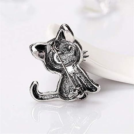 Westeng Creative Metal Pin Badge Brooch Retro Cute Cat Shape Rhinestone Brooches Pins Corsage for Shirt Jeans Coat