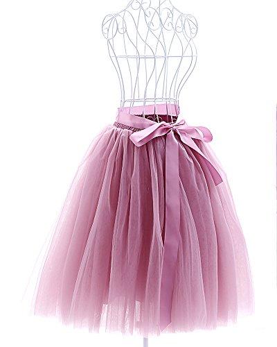 [Women's Tulle Tutu Princess Skirt Pleated Midi/ Knee Length Wedding Party Skirts (Mauve Pink)] (Plus Size Tutu Skirt)