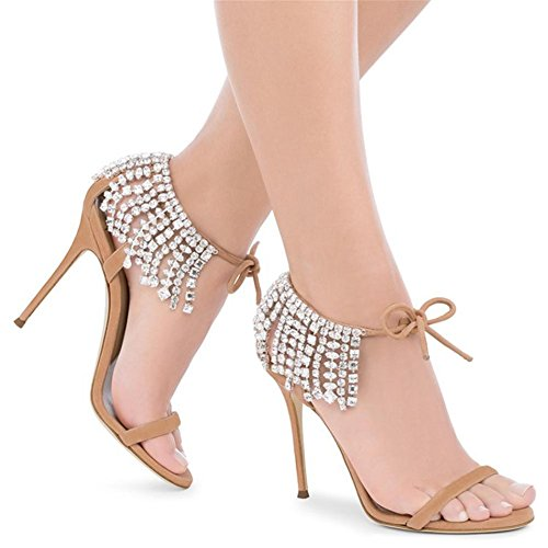 Women's Ladies Peep Toe Stiletto Ladies Sexy Black High Heel Sandals Shoes Party Prom Bridal Evening Size Nude color eJr1oW