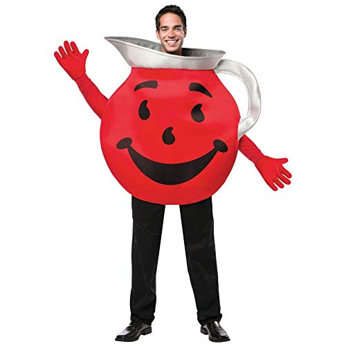 Mens Adult Halloween Costume (Rasta Imposta Men's Kool Aid Guy, Red/Black/Silver, One)