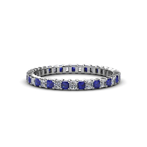 TriJewels Blue Sapphire and Diamond 2mm Eternity Band 1.47 ctw to 1.73 ctw in 14K White Gold.size 7.5