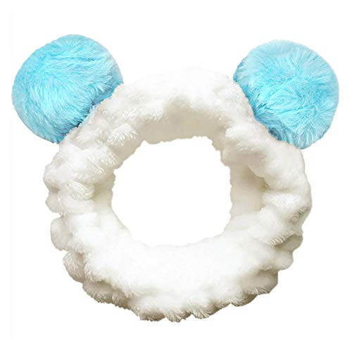 Headbands Women Washing Face Makeup Girls Baby Cute Elastic Facial Hair Bands Korean Beauty Products Spa Shower Yoga Headwrap Costume Hair Accessories, Animal Panda Ears, Blue ()