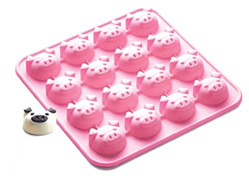 SiliconeZone Piggy Collection Non-Stick Silicone 16-Cup Chocolate Mold, Pink (Pig Chocolate Mold)