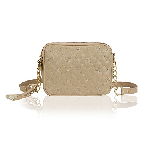 (Kleio Quilted Faux Leather Double Compartment Crossbody Messenger Cell Phone Purse Women Girls Bag (Cream))