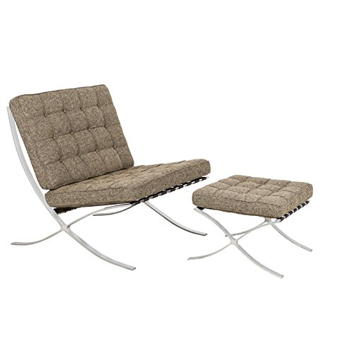 LeisureMod Modern Bellefonte Pavilion Chair & Ottoman (Oatmeal Wool)
