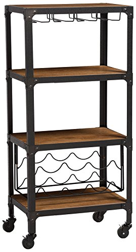 Mobile Wine - Baxton Studio Swanson Rustic Industrial Style Antique Textured Metal Distressed Wood Mobile Kitchen Bar Wine Storage Shelf, Black