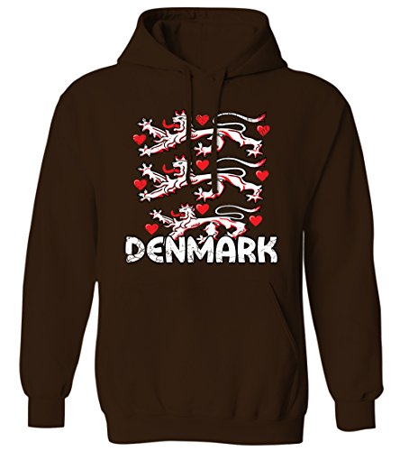 Denmark Coat of Arms - Royal Lion Hearts Emblem - Danish Mens Hoodie Sweatshirt (Brown, 2X-Large)