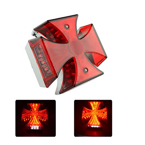 Universal Motorcycle Red Maltese Cross LED Taillight Brake Rear License Plate Light for Motorcycle Tail Light Kawasaki VN Vulcan Classic Custom 900 Suzuki Boulevard M109 M109R VZR1800 CG125 CB125