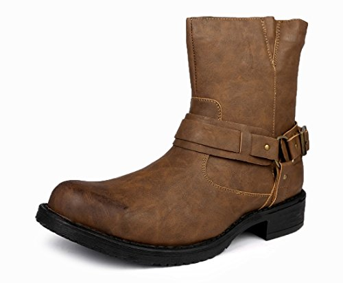 Image of Bonafini Collection Men Classic Traditional Round Toe Harness Motorcycle Boots Shoes Brown