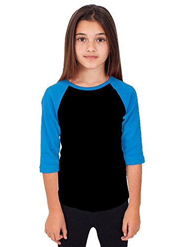Hat and Beyond Kids Raglan Jersey Child Toddler Youth Uniforms 3/4 Sleeves T Shirts (X-Small (2-3 Year), 5RD3402 Black/Turquoise) (School Toddler Tee)