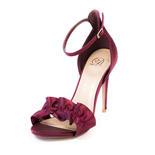 Squisita Donna Open Toe Cinturino Alla Caviglia Tacco Alto A Spillo Sandalo Con Ruches Arruffato Vino Raso