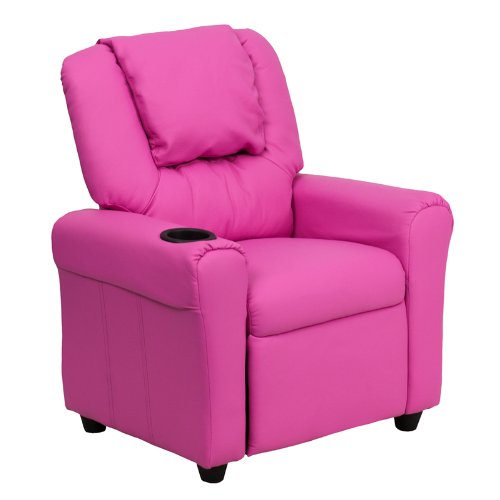 "27"" Contemporary Hot Pink Vinyl Kids Recliner w/ Cup Holder & Headres (1 Chair) - FF-DG-ULT-KID-HOT-PINK-GG"