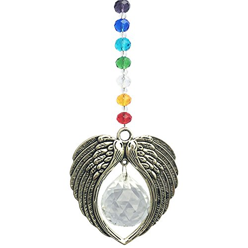 Waltz&F Crystal Angel Wing Pendant with Crystal Ball Hangings Suncatcher for Window