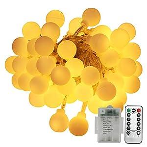 Catena Luminosa Esterno, Neoperlhk Luci LED Natale 5m 50 Lampadine 8 Giochi Impermeabile IP44 Lucine Decorative per… 5 spesavip