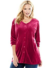 Women's Plus Size Velour Pintuck Tunic
