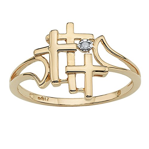 Solid 10K Yellow Gold Diamond Accent Triple Cross Ring