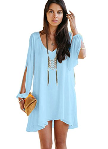 Buy light blue a line dress - 8