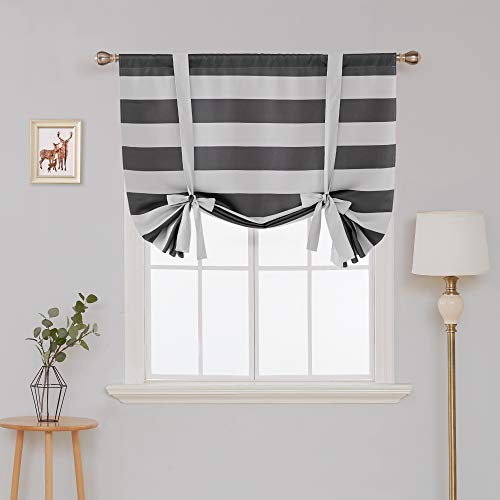 Deconovo Gray Striped Blackout Window Curtains Thermal Insulated Grey and Greyish White Striped Curtains Tie Up Curtains for Bedroom 46W X 63L Gray 1 Panel