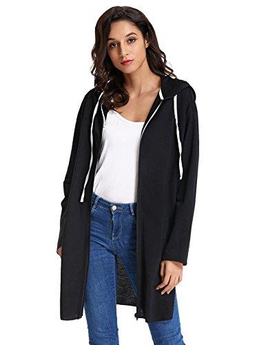GRACE KARIN Casual Drawstring Cute Hoodie Jacket Coat for Women (2XL,Black) ()