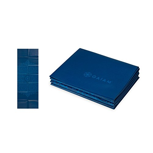 Gaiam 05-62214 Foldable Yoga Mat, Blue Sundial, 2mm