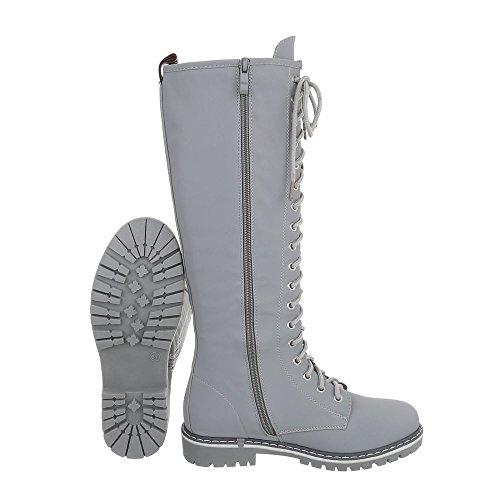 Ital-Design Schnürstiefel Damenschuhe Schnürstiefel Blockabsatz Schnürer Reißverschluss Stiefel Hellgrau