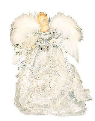 Kurt Adler 12-Inch Fiber Optic LED Silver Angel Tree Topper