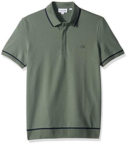 Lacoste Men's S/S Print Mini Pique Stretch, Grassy/Navy Blue, X-Large