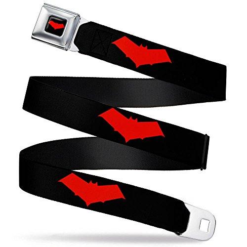 Red Hood Logo Black/Red Webbing - Seatbelt Belt Regular - Red Black Cool Belt Buckle