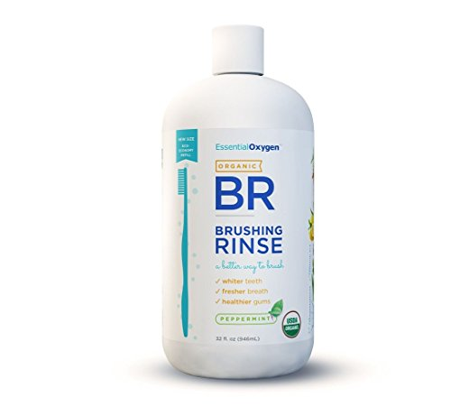 Essential Oxygen Organic Brushing Rinse Toothpaste Mouthwash Refill, Organic Peppermint, 32 Ounce