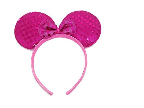 MeeTHan Mickey Mouse Minnie Mouse Ears Headband Sequin : M1 (Sequin Pink2) - Lmfao Sky Blue Wig