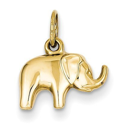 14k Two Tone Charms - 14K Yellow Gold Elephant Charm - (0.59 in x 0.51 in)