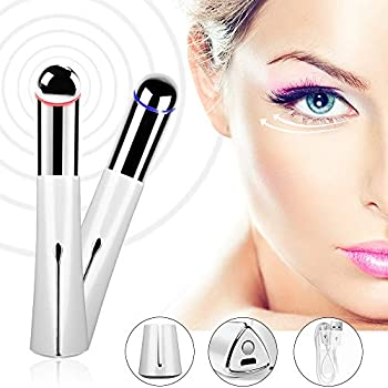 45℃ Heated Sonic Eye Massager, Anti-aging Galvanic Wand, Rechargeable Eliminate Wrinkles Wand with High-frequency Vibration - Relieve Your Dark Circles, Blackheads and Puffiness Perfectly