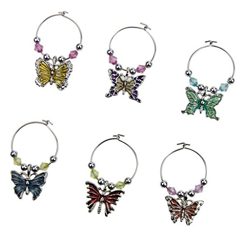 MagiDeal Pack of 6 Butterfly Alloy Wine Charms Pendant Glasses Ring Table Centerpieces
