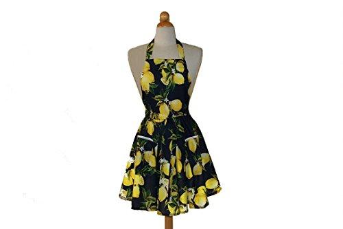 (Cleeyn Navy Lemon Full Apron Kitchen Apron Work Apron)