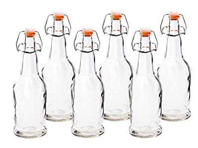 HomEquip 16 Oz Reusable Glass Beer Bottles 6 Pk- Grolsch-Style with Easy Swing Top Caps: Used for Home Brewing, Wine Fermenters & Kombucha Tea Bottling (Clear)