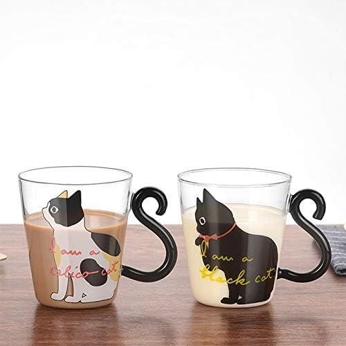 Amazon Com Taza De Cristal Con Diseño De Gato Y Gatito Taza De Té Leche Café Dibujos Animados De Gatitos Y Gatitos Para Casa Oficina Fruta Y Zumo E Bonito Bolígrafo Estacionario