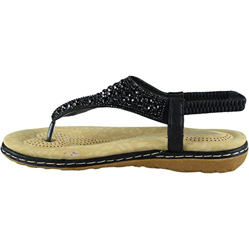 Loud Look Womens Diamante T-Bar Flats Ladies Sandals Elastic Slingback Toe Post Shoes Size 3-8 Black gxfWySi101