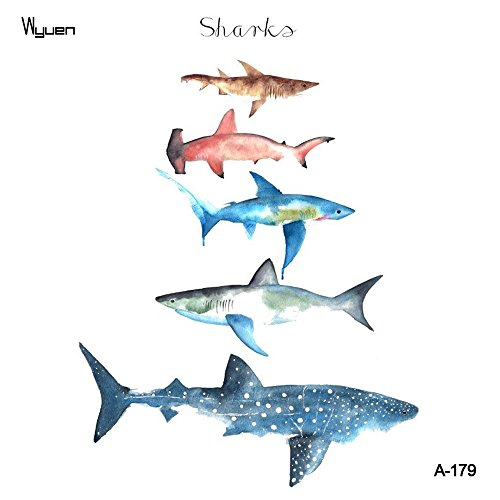 WYUEN 5 Sheets Shark Kids Body Art Tattoo Sticker For Men Women Fake Waterproof Temporary Tattoo New Designs 10.5X6cm A-179 (Shark Tattoo)
