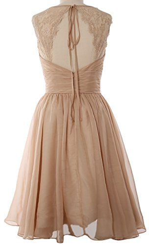 MACloth Women Short Bridesmaid Gown Vintage Chiffon Wedding Party Cocktail Dress Amarillo