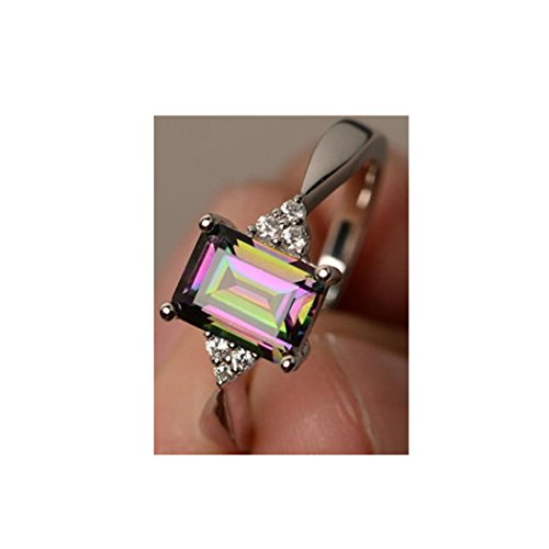 038f870d2 Lethez Womens Silver Ring Princess Cut Mystic Rainbow Engagement Diamond Rings  Jewelry Minidiscs