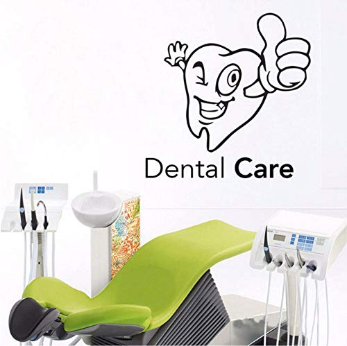 LSFHB Dental Care Vinyl Sticker for Stomatology Cartoon Tooth Dental Clinic Wall Decal Dentist Teeth Clinic Removable Tooth Decor 42X42Cm ()