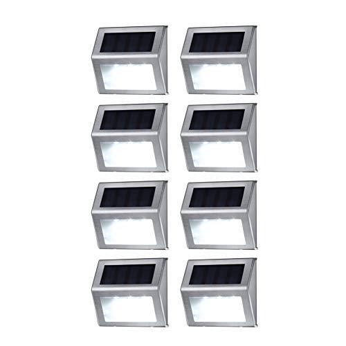 Solar Deck Lights, MEIO Stainless Steel Solar Lights Outdoor Waterproof, LED Solar Powered Super Bright Deck Lights, Solar Step Lights, Patio Solar Lights, Solar Outdoor Lights Wall Mount (8 Pack)