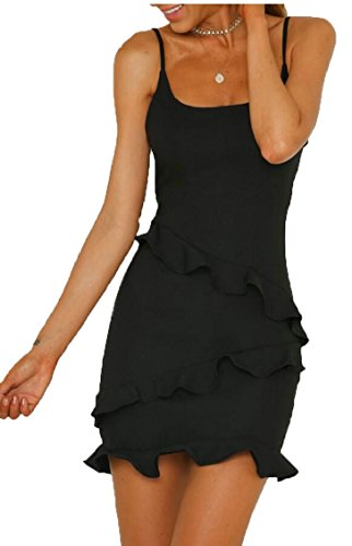 Jaycargogo Des Femmes De Bretelles Spaghetti Sexy Robes De Soirée Moulante Noir
