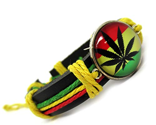 Rasta Leather Bracelet - Handmade Rastafari Bracelet - Marijuana Pot Leaf Bracelet (Rasta Color Blanket)
