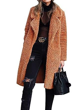 Gzbinz Women Fuzzy Fleece Coat Open Front Cardigan Lapel