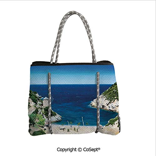 Neoprene Beach Bag,Sandy Cove North of The Old Town Alonissos Calm Seascape Idyllic Scenery,for Beach,Picnic(14.9