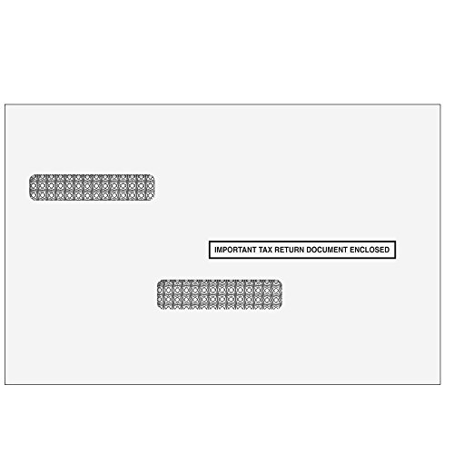 W-2/1099 Universal Double Window Envelope for 50 Employees/Recipients