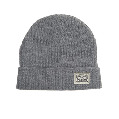 Knit Cuff Beanie - Levi's Men's Knit Cuff Beanie with Woven Label, Grey Casual, One Size
