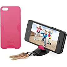 Tiltpod Keychain stand and case for iPhone 5, mini pivoting tripod - rubine